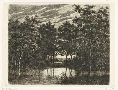 Landschap met vijver, links zit een visser met een puntige hoed