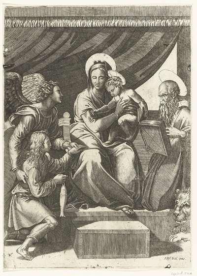 Maria met kind geflankeerd door aartsengel Michaël met Tobias met vis en heilige Hieronymus