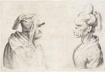 Misvormde koppen van een man met slappe muts en vrouw met opgebonden haar; Varie figurae et probae; Karikaturen, koppen en misvormingen naar Leonardo da Vinci