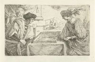 Twee mannen spelen triktrak