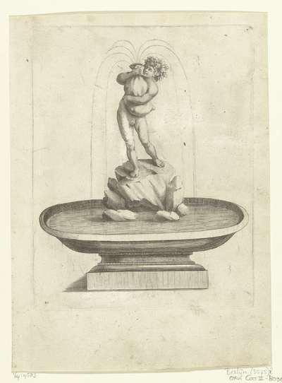 Fontein met jonge Bacchus op rots; Fontaines Et Iets D'Eau (...)