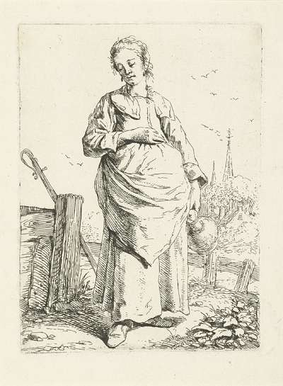 Staande vrouw met kruik