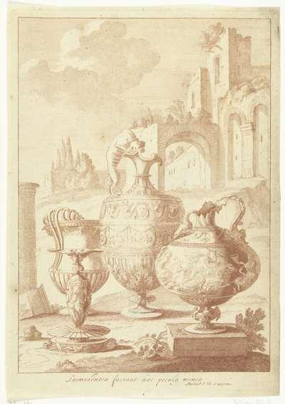 Kandelaar en drie vazen; Laomedonteae fuerant haec pocula mensea; Vazen en kandelaars