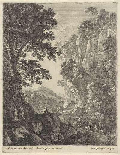Berglandschap met waterval; Landschappen