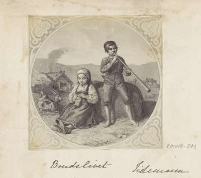 Fotoreproductie van een prent naar een schilderij van Adolph Tidemand; Bondelivet Tidemann