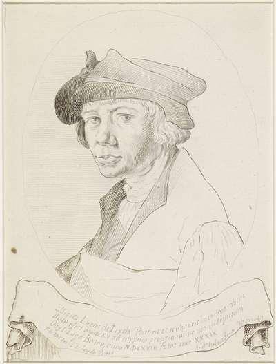 Portret van Lucas van Leyden, in ovaal naar links