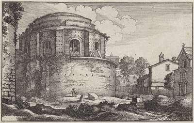 Gezicht op een rond Romeins gebouw; Romeinse ruïnes