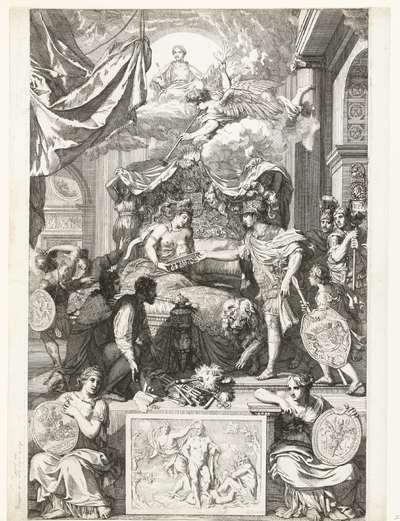 Allegorie op het herstel van de ware godsdienst in Engeland met de komst van de prins van Oranje, 1688