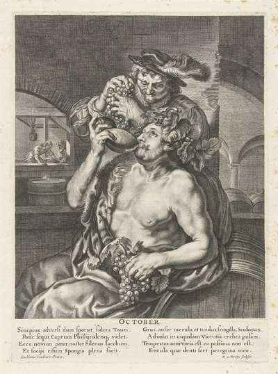 Oktober: Bacchus die wijn drinkt; October; De twaalf maanden