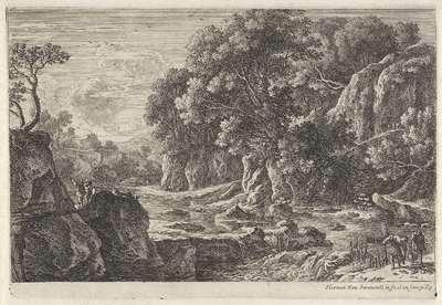 Rivierlandschap met twee vissers; Vier rivierlandschappen