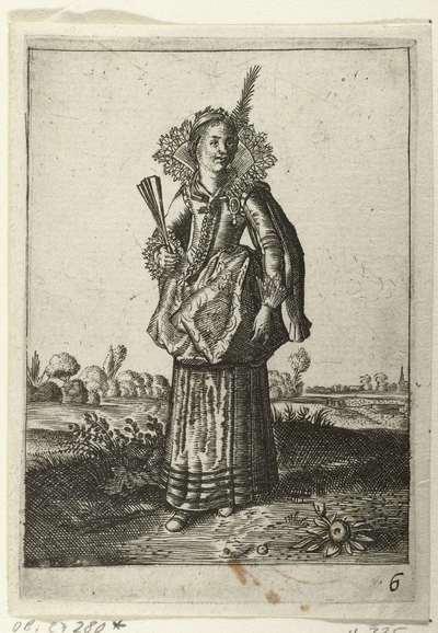 Elegante dame met hoofdtooi met veer; Klederdracht van Nederlandse edelvrouwen