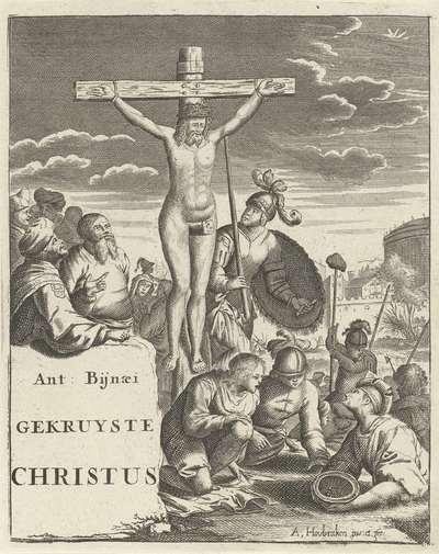 Christus aan het kruis; Titelpagina voor: A. Bynaeus, Gekruiste Christus, 1725