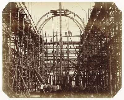 Image from object titled Construction of the 1862 International Exhibition Building at South Kensington (Scaffolding at Main Entrance)