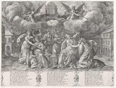 Gelijkenis van de vijf wijze en de vijf dwaze maagden, vergezeld door de drie goddelijke deugden