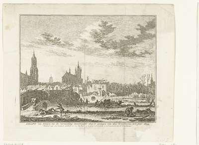 De verwoesting in Delft na de ontploffing van het buskruitmagazijn op 12 oktober 1654; Delft van binnen, na de verwoesting, veroorzaakt door 't springen van den Kruidtooren, in't jaar 1654