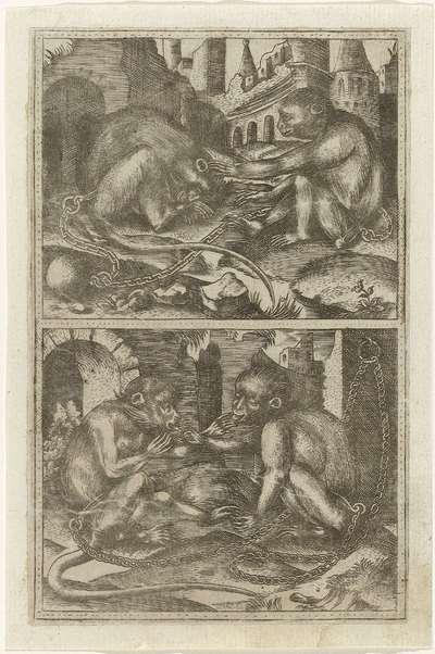 Twee scènes met ieder twee geketende apen tussen ruïnes