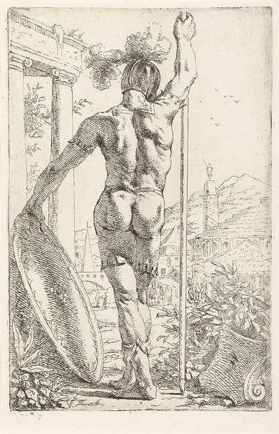Romeinse soldaat met schild en lans op zijn rug gezien