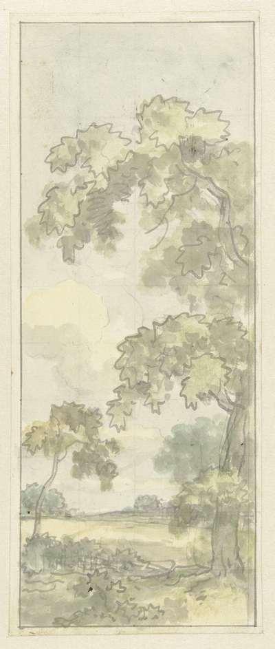 Image from object titled Ontwerp voor wandschildering met Hollands landschap