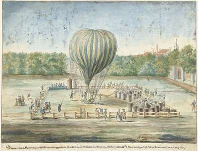 Image from object titled The Launch of Blanchard's Balloon at The Hague in 1785