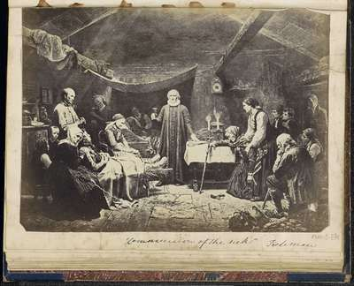 """Fotoreproductie van (vermoedelijk) een prent naar een schilderij van Adolph Tidemand; """"Communion of the sick"""" Tiedeman"""