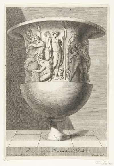 Vaas met aantal figuren bovenaan; Romae in aedibus Martini Longhi Architecti; Recueil de divers vases antiques