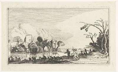 Herder met geiten en schapen bij een rivier; Landschappen naar Esaias van de Velde