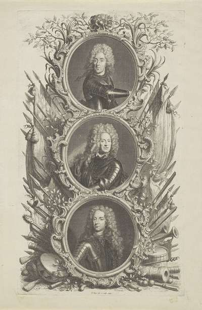Portretten van Eugenius van Savoye, John Churchill van Marlborough, en Johan Willem Friso, prins van Oranje-Nassau