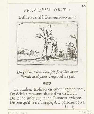 Een tuinman verzorgt een jonge boom; Principiis obsta/Resiste au mal à son commencement; Kloosterleven in emblemen
