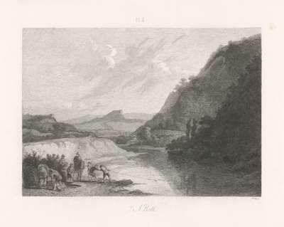 Landschap met enkele figuren bij een rivier; Hollandse meesters