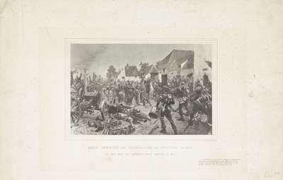"""Schilderij van de ontmoeting van Nederlandse en Pruisische troepen na de Slag bij Waterloo, 1815; Eerste ontmoeting van Nederlandsche en Pruisische troepen na den slag bij Waterloo nabij """"Maison du Roi"""""""