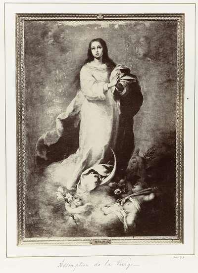 Fotoreproductie van een schilderij door Bartolomé Esteban Murillo, voorstellend de Onbevlekte Ontvangenis van Maria