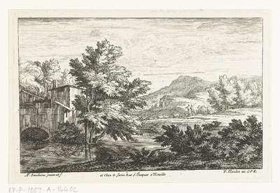 Landschap met schaapherders bij een watermolen