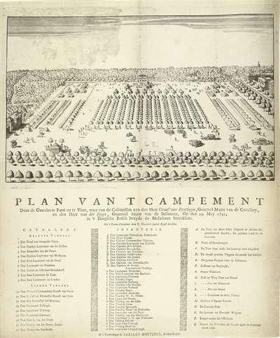 Kampement bij Den Haag, 1742; Plan van 't Campement door de guardes te paert en te voet, waer van de colonellen zyn den heer graaf van Bentheym, generael major van de cavallery, en den heer Van der Duyn, generael major van...
