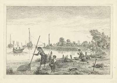 Figuren op de oever bij Ouderkerk aan de Amstel, 1622; Ouderkerk aan den Amstel, Ao 1622; Noord-Hollandse landschappen