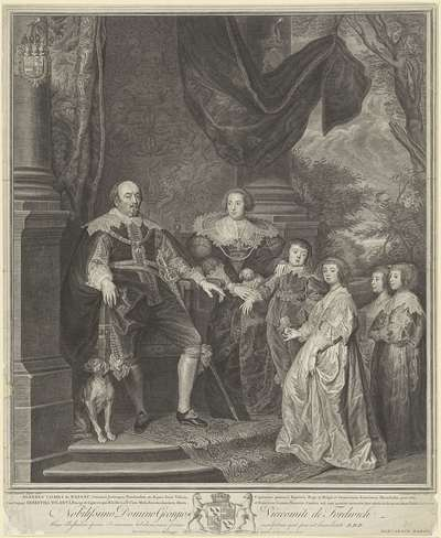 Familieportret van Johan VIII, graaf van Nassau-Siegen, Ernestine Yolande de Ligne en hun kinderen