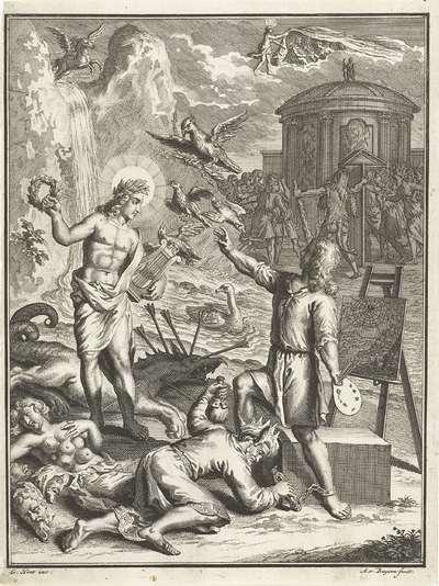 Allegorische voorstelling met Apollo en een schilder
