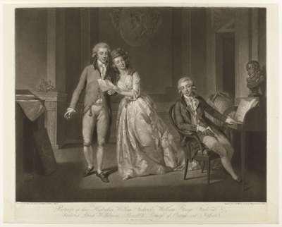 Frederika Louisa Wilhelmina, prinses van Oranje-Nassau, met haar broers Willem en Frederik in een vertrek.