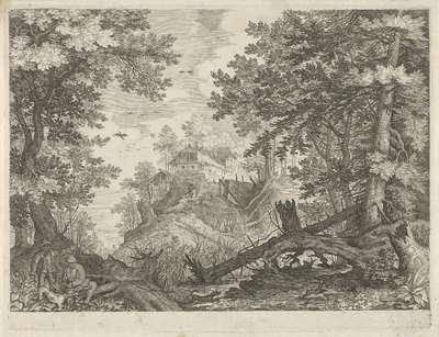 Boslandschap met twee jagers en een hond; Berglandschappen uit Tirol