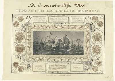 """Gedenkplaat bij het derde eeuwfeest in 1888 van de overwinning op de Spaanse Armada in 1588; """"De Onoverwinnelijke Vloot."""" Gedenkplaat bij het derde eeuwfeest van haren ondergang"""