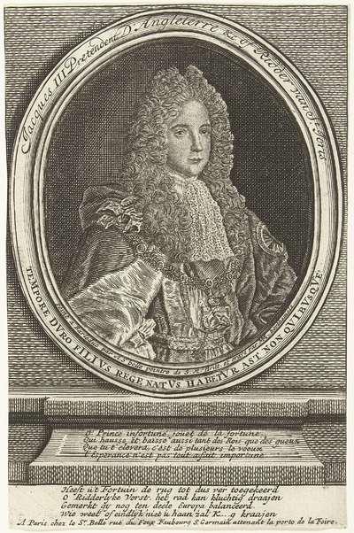 Portret van de troonpretendent Jacobus III, ca. 1720; Het Groote Tafereel der Dwaasheid (extra stukken)