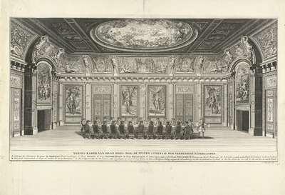 Trêveszaal met vergadering van de Staten-Generaal, ca. 1730; Treves-Kamer van Haar Hoog Mog. de Staten Generaal der Vereenigde Nederlanden