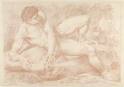 Liggend mannelijk naakt met gebolde wangen