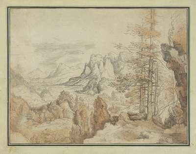 Berglandschap met bomen en gezicht in een dal