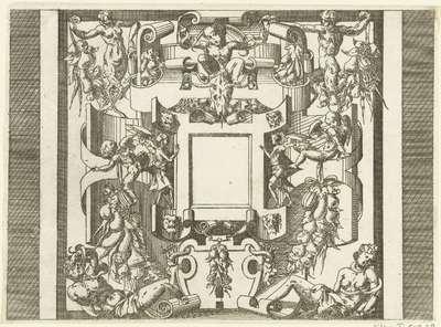 Vierkante cartouche; Plafonds en cartouches in een omlijsting van rolwerk met grotesken, guirlandes en mascarons; Kleine cartouche naar voorbeeld te Fontainebleau