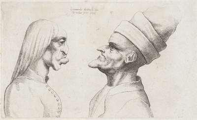 Misvormde koppen van een vrouw met stijl haar en man met dubbel gerande muts; Varie figurae et probae; Karikaturen, koppen en misvormingen naar Leonardo da Vinci