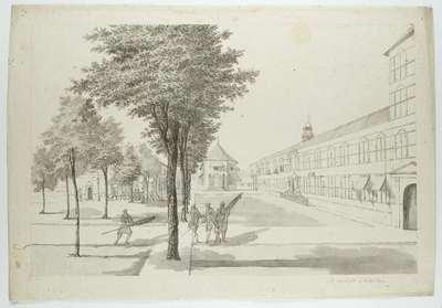 Gouvernement, kasteelkerk en dragonderwacht binnen het Kasteel te Batavia