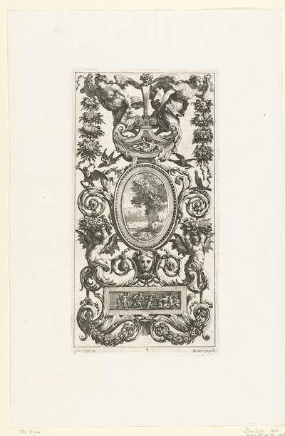 Muurpaneel met ovale lijst rustend op masker; Livre De Diverses Grotesques, Peintes Dans Le Cabinet De La Reine Régente, Au Palais Royal