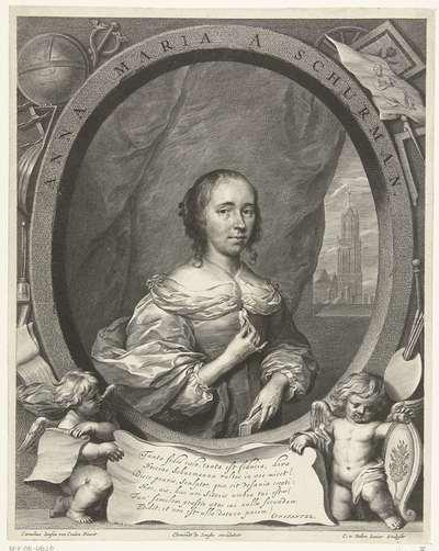 Portret van Anna Maria van Schurman; Anna Maria A Schurman