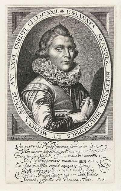 Portret van Johann Neander op 26-jarige leeftijd