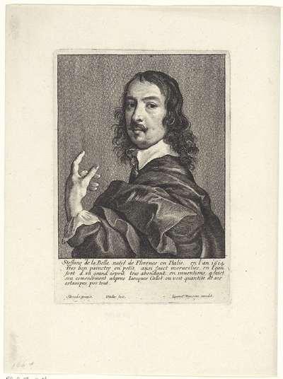 Portret van Stefano della Bella; Portretten van kunstenaars; Image de divers hommes desprit sublime
